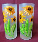 Vintage Libbey frosted FLOWERS PAIR TALL GLASSES 6