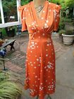 Heyday Vintage Style Womens Mary Dress Short Sleeve Midi Orange Dot Print Sz 10