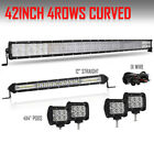 42 inch Curved LED Light Bar +12 Slim +4X 4 18W Pods For Ford Jeep 12V 40 10