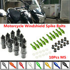 10x M5 Motorcycle Scooter CNC Fairing Windscreen Windshield Spike Bolts Washers