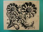Baroque Flowers Large Ornate OUTLINES Rubber Stamp