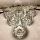 6 Lowball Old Fashion Libbey Glasses With Gold Clipper Ships Vintage 50s Barware