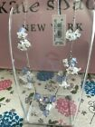 Kate Spade Silver Tone Bead  Flower Statement Necklace 17 + 3 extender Blue