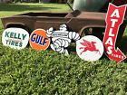 Antique Vintage Old Style Atlas Michelin Mobil Gulf Kelly Tires Gas Oil Signs