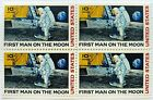 1969 FIRST MAN ON THE MOON 4 PC Block of Four Vintage Postage Stamps MINT NH