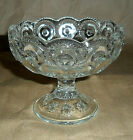 STARS BOWL COMPOTE FOOTED CLEAR GLASS SCALLOPED RIM 4