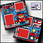 JULY 4TH BOY 2 premade scrapbook pages paper piecing CHERRY prints 0068