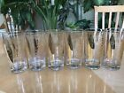 6 Vintage Mid Century Fred Press Glassware FISH 22k Gold Set Glasses Clear MCM