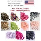 1000 pcs 4mm Half Round Flat Back Pearl Beads Faux Pearls for Crafts Scrapbook