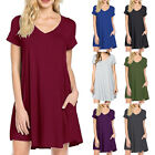 Womens Summer Short Sleeve T Shirt Dress Casual Loose Short Dress with Pockets