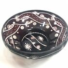 Stunning VintageLarge Bohemian Glass Dark Ruby Hand Cut Vase Dish Faberge Design