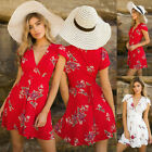 Womens Floral V Neck Chiffon Mini Dress Summer Party Beach Short Sleeve Sundress