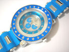 Silver Tone Big Case Blue Rubber Band Men's Watch with Crystals