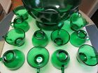 Vintage Anchor Hocking Green Punch Bowl, with all 12 Cups AND Base - never used.