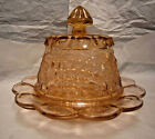 Vintage Elegant Glass Covered Butter or Cheese Dish Grape Motif