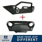 Front Bumper w/Winch Plate + Grille Mesh Insert For Jeep Wrangler TJ 1997-2006