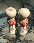 Vintage Wooden Chef Salt and Pepper Shakers Japan Hand Painted Unique