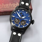 46mm Corgeut PVD Case Blue Dial Silver Markers Flywheel Automatic Men's Watch 33