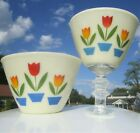 ANCHOR HOCKING FIRE KING TULIPS DESIGN VINTAGE KITCHEN GLASS NESTED MIXING BOWLS