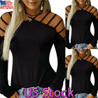 Womens Cold Off Shoulder Long Sleeve Ladies Cut Out T Shirts Summer Blouse Tops