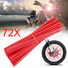 72Pcs Wheel Spoke Wrap Skin Coat Trim Cover Pipe Motorcycle Cross Bike Universal