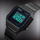 SKMEI Men's Stainless Steel Digital LED Square Electronic Calendar Wrist Watch