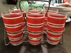 6 Vintage 1950's Hazel Atlas Red White Candy Stripe Tumbler Glasses In Caddy