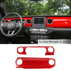 Red Dashboard Control Console Trim Panel Cover Decor Fit Jeep Wrangler JL 2018+