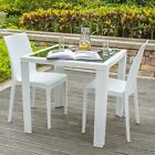 2PCS Outdoor Furniture PE Wicker Dining Table Set Garden Patio Pool Setting