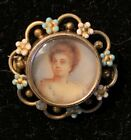 Antique Victorian Gold Plate And Emamel Portrait Brooch Hand Painted Lady