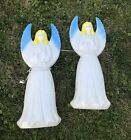 Pair 2Union Blue Tipped Angel Nativity Blow Mold Christmas Yard Lights Decor 31