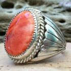 LARGE NATIVE AMERICAN NAVAJO STERLING SILVER ORANGE SPINY OYSTER RING SZ11 WOW