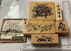 Lot Of 5 Rubber Stamps Wood Mounted used a3