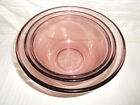 Vintage Anchor Hocking pink Glass Nesting Bowls Set Of 3
