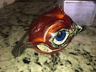 SIGNED RED BIRD Art Glass Sculpture Paperweight 2004 Psychedelic