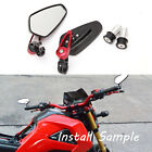 For Ducati Monster S2R 1000 7/8'' Bar End Rear View Side Mirrors Red Universal