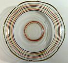 Mid-Century Modern Striped Clear Glass Bowl Serving Bowl Scalloped Edge Large