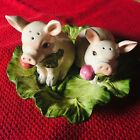 Pigs Lying Down In Flower Bed Porcelain Salt And Pepper Shakers