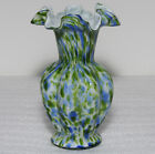 Fenton Cased Glass Vasa Murrhina Blue Green 7 5 8 Inch Vase