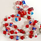 American Flag Beads Red White Blue USA Patriotic America Glass Mix Oval 20 pcs