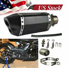 Universal Black Carbon Fiber Look Scooter Exhaust Muffler Pipe 310mm Dual Outlet