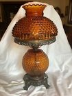 Vintage Amber Glass Hobnail Electric Lamp GWTW 20 3 Way EF Chicago Cast Metal