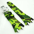 26mm Camouflage Green Rubber Band 18mm Clasp Strap for AP 15400 15300 Royal Oak