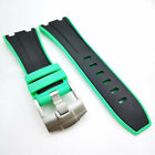 28mm Green side Black Rubber Band Tang Buckle Strap for AP Royal Oak Offshore