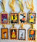 Set of 8 Hang Tags Halloween Candy Corn Partys Gift Tags Scrapbook Cards 375R