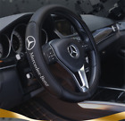 Car Steering Wheel Cover 38CM For Mercedes Benz Genuine Leather Ship From USA