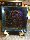 Vintage Pre Owned Signed McVay Studio Dichroic Fused Art Glass Square Plate