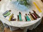 Hanging Stained Glass Christmas Nativity Scene Hand Made 6 pieces 8H