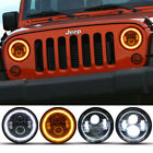 Pair 7 Inch Round LED Halo Angel Eyes Headlight For Jeep Wrangler TJ LJ CJ JK