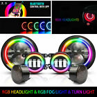DOT 7LED Headlight  Fog  Turn Light With RGB Halo Combo For Jeep Wrangler JK